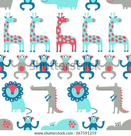 African animal seamless pattern. Surface kid decoration with colorful lion, giraffe, monkey, hippo, crocodile.Vector illustration. Cloth design, wallpaper, wrapping. - stock vector