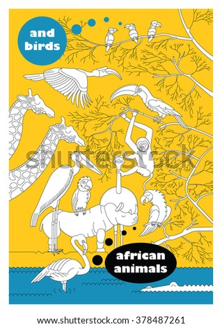 African animals and birds cover book. Vector cartoon cover book, african animals and birds in lineal flat style like coloring book. Isolated african animals. Cartoon african animals for cover book.  - stock vector