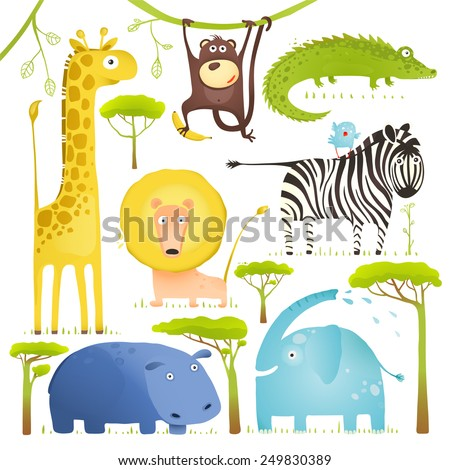 African Animals Fun Cartoon Clip Art Collection. Brightly colored childish African animals set. Vector illustration EPS10. - stock vector