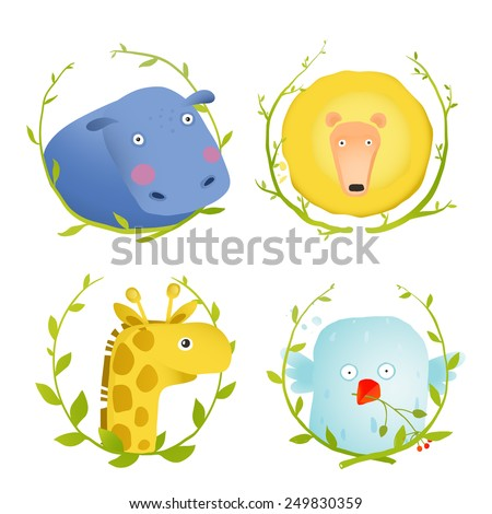 African Animals Fun Cartoon Portraits with Wreath. Brightly colored childish animals hand drawn. Vector illustration EPS10. - stock vector