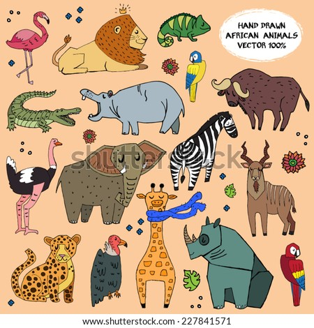 African animals hand drawn illustration vector set. - stock vector