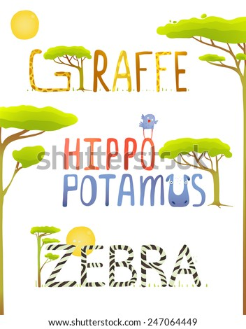 African Animals Hippopotamus Giraffe Zebra Fun Lettering. Brightly colored childish cartoon signs. Vector illustration EPS10 - stock vector
