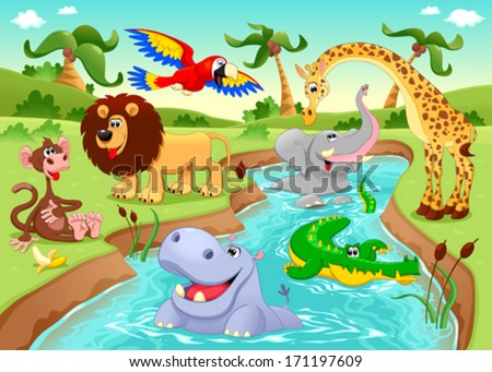 African animals in the jungle. Cartoon and vector illustration. - stock vector