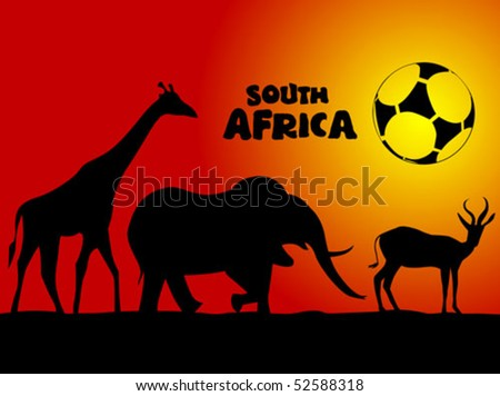African animals ready to play soccer - stock vector