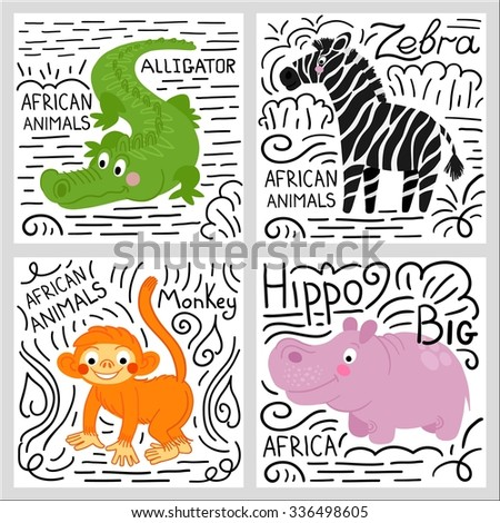 African animals set isolated on white background: alligator, hippo, monkey, zebra. African animals background. - stock vector