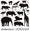 African animals silhouettes set. Vector illustration. EPS 8 - stock vector