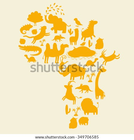 African animals silhouettes set. Vector illustration. The contour of the continent of Africa - stock vector