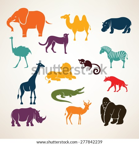 african animals stylized vector silhouettes - stock vector