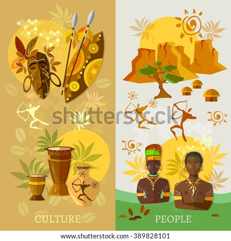 African banner Africa culture and traditions ancient tribes of Africa vector illustration  - stock vector