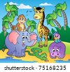 African beach with cute animals - vector illustration. - stock photo