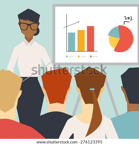 African business woman giving a presentation - stock vector