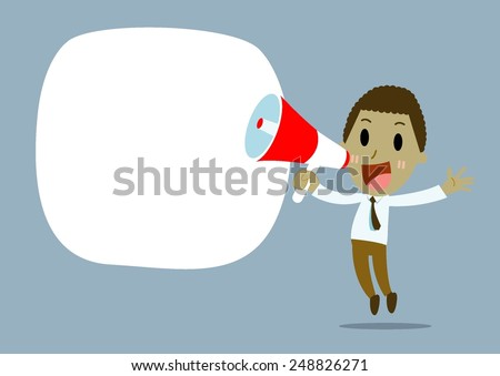 african Businessman with megaphone advertising , promotion marketing concept - stock vector
