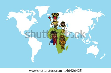 African continent cartoon persons with distinctive clothing. Vector illustration layered for easy editing. - stock vector
