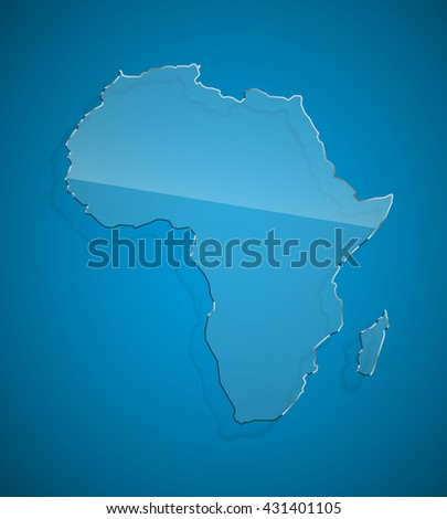 African continent Flat icon Image. Africa background Picture. Vector Silhouette - stock vector