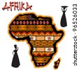 African continent with traditional cover and african women silhouettes over white background - stock vector