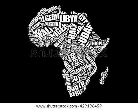 African countries Map in Typography word cloud concept, names of countries - stock vector