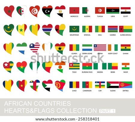 African countries set, hearts and flags, 2  version, part 1 - stock vector