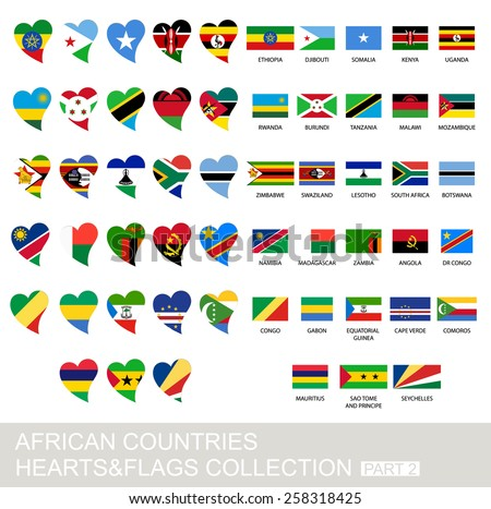 African countries set, hearts and flags, 2  version, part 2 - stock vector
