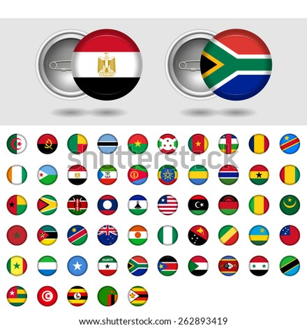 African Countries, World Flag collection. Pin badges. Part 6/6 - stock vector