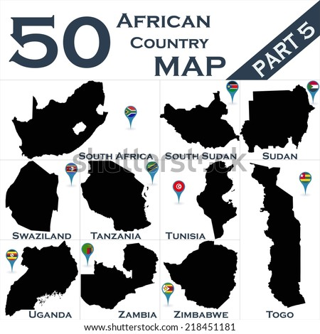 African country set with map pointers - Part 5 - stock vector