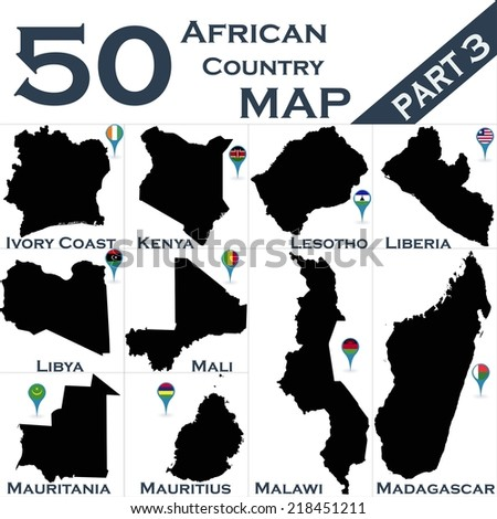 African country set with map pointers - Part 3 - stock vector