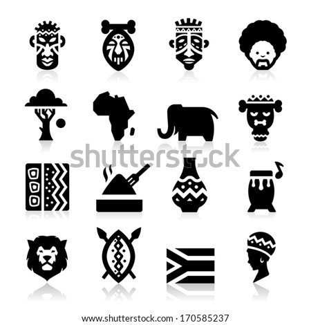 African Culture Icons Stock Vector Royalty Free 170585237