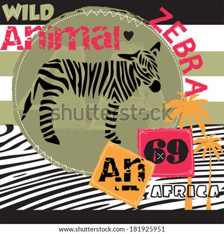 African cute zebra striped background vector illustration - stock vector