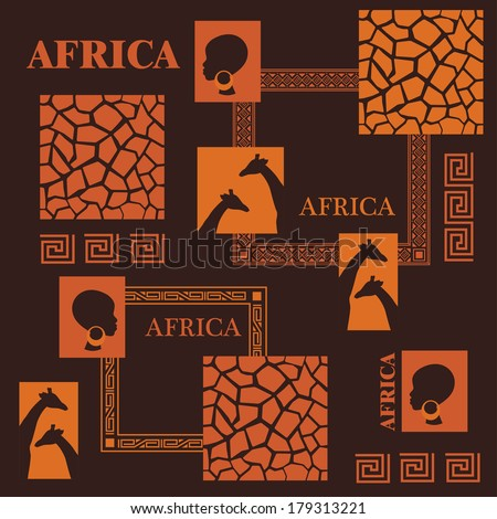 African design. African design. Beautiful ethnic woman, giraffe and giraffe skin. - stock vector