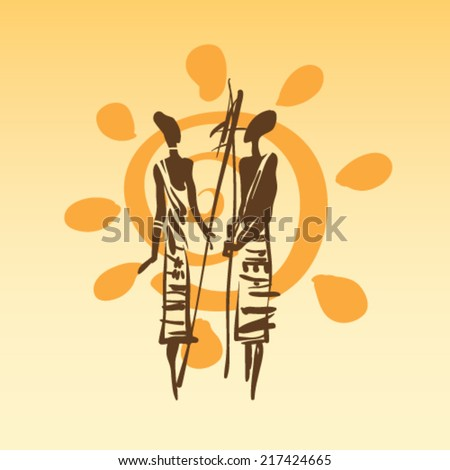 African design. Beautiful ethnic silhouettes, freehand drawing vector - stock vector