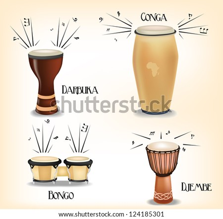 African drums collection - stock vector