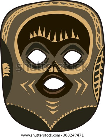 African Ethic Tribal Mask Isolated.