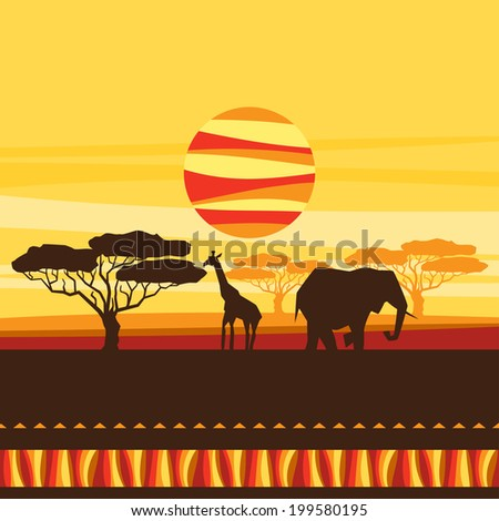 African ethnic background with illustration of savanna. - stock vector