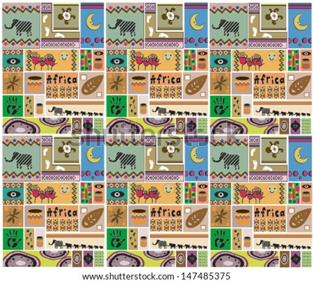 african ethnic seamless pattern - stock vector