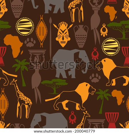 African ethnic seamless pattern with stylized icons. - stock vector