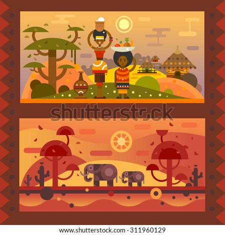 African everyday. A woman with a bowl on head, boy with fruit in a plate. National houses, native animals. Vector flat illustration - stock vector