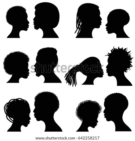 African Female Male Face Vector Silhouettes Vectores En
