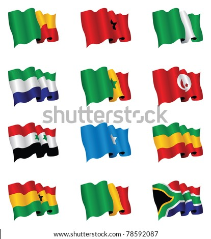 african flag set - stock vector