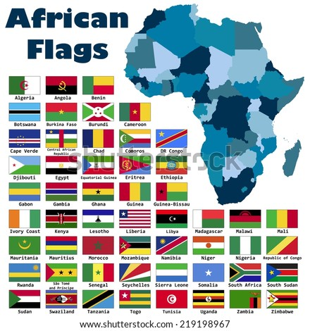 african flag set in alphabetical order with an editable map