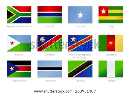 African Flags. Collection part 2. Vector illustration.