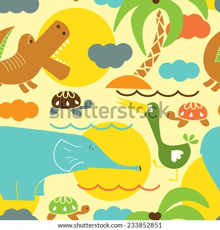 African funny animals. Kids seamless pattern - stock vector