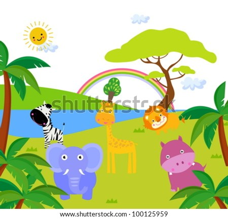 African landscape and animals - vector illustration.