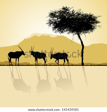 African landscape flora and fauna in sunset time with antelopes.  - stock vector