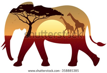 African landscape in silhouette of elephant. No transparency used. Basic (linear) gradients used.  - stock vector