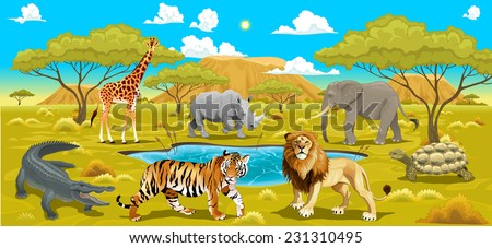 African landscape with animals. Vector natural illustration  - stock vector