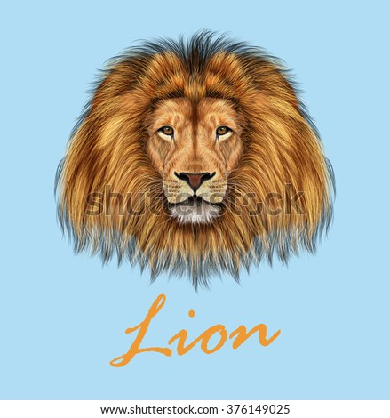 African Lion. Vector Illustrated portrait of Lion on blue background. - stock vector
