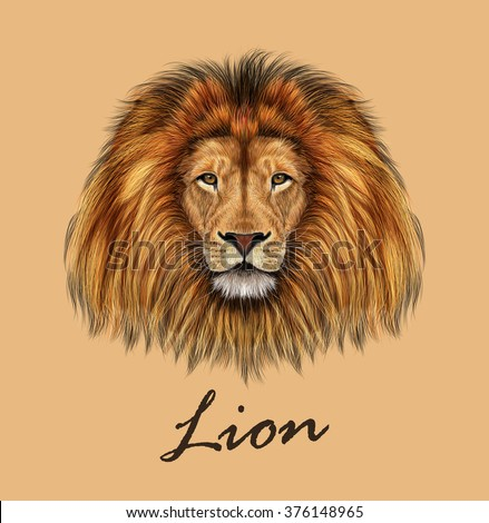 African Lion. Vector Illustrated portrait of Lion on tan background. - stock vector