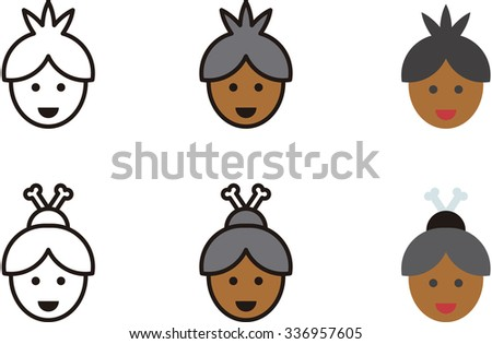 AFRICAN man and woman icons - stock vector