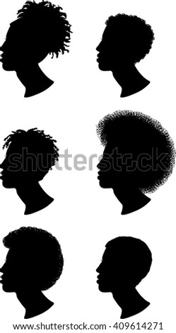 African, Man, Profile, Silhouettes, Vector Illustration  - stock vector