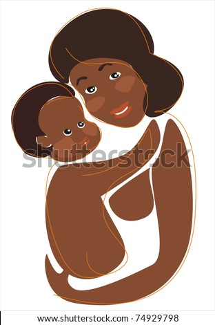 african mother and child, happiness concept isolated illustration - stock vector