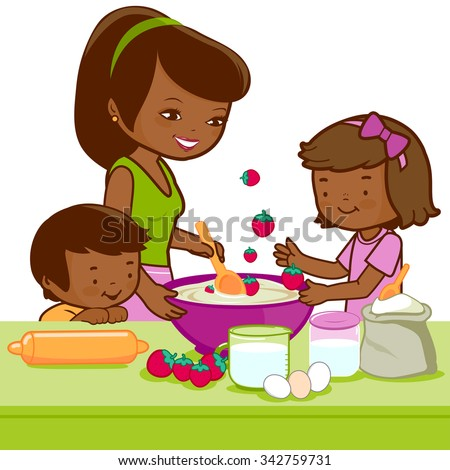 African mother and children cooking in the kitchen. - stock vector